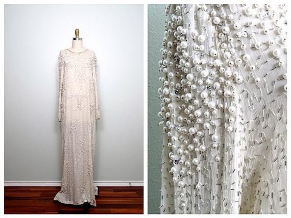 Vintage Pearl Beaded Wedding Dress / Ivory Silk Glass Beaded   Et