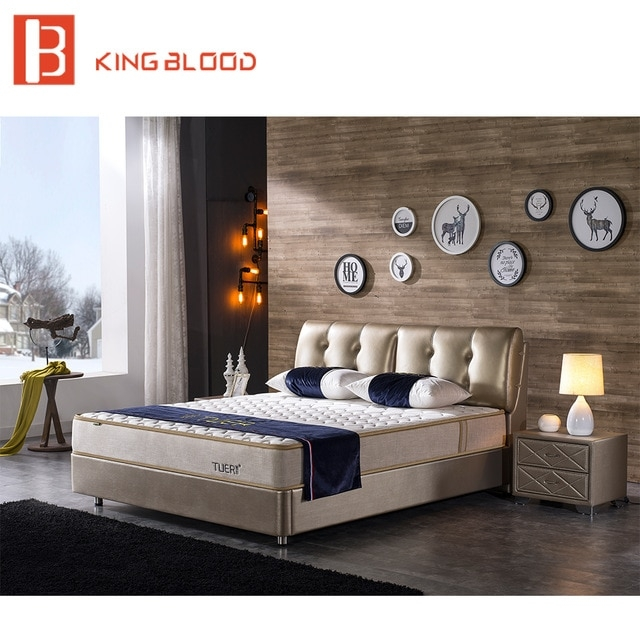 Indian Modern Genuine Leather Solid Wood Double Bed Designs .