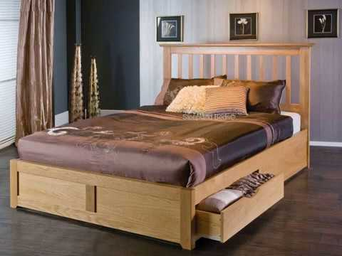 Wooden Double Bed with Drawer Designs - YouTu