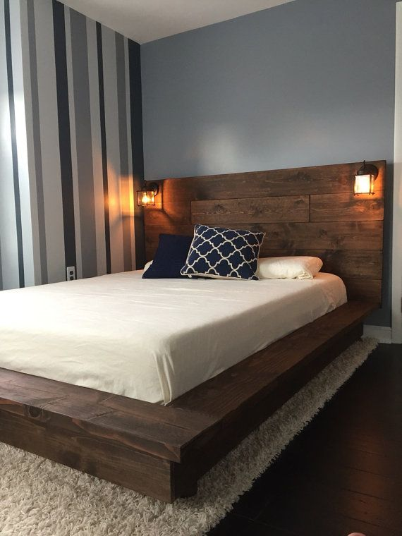 Floating Wood Platform Bed frame with Lighted Headboard-Quilmes .
