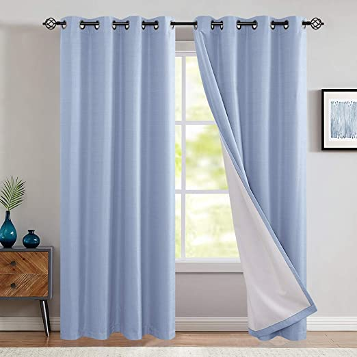 Amazon.com: jinchan Blackout Thermal Backed Curtains for Living .