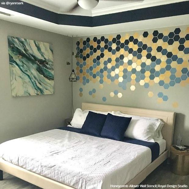 Bedroom Wall Stencil Designs & DIY Decorating to Sleep in Style .
