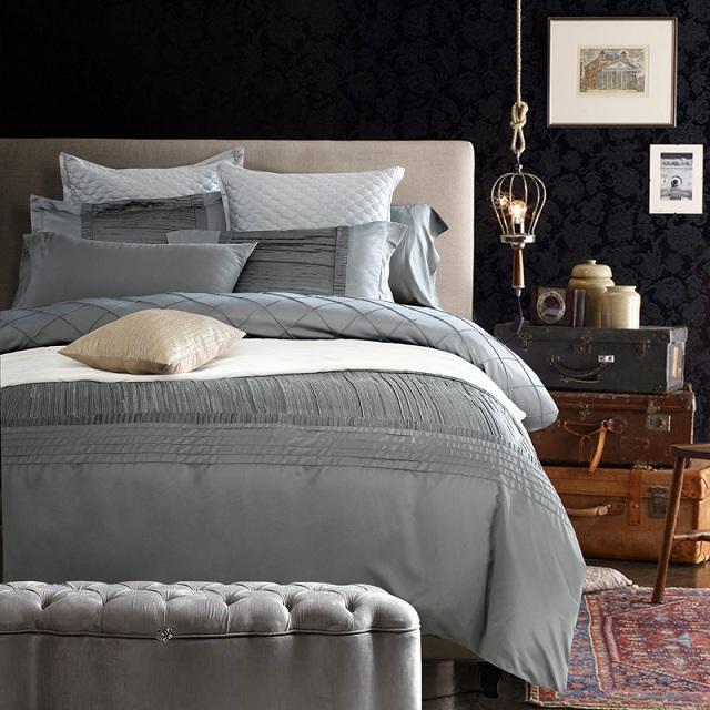 Silk Sheets Luxury Designer Bedding Set Silver Grey Quilt Duvet .