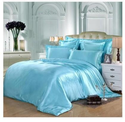Aqua Silk Bedding Set Green Blue Satin Super King Size Queen Full .