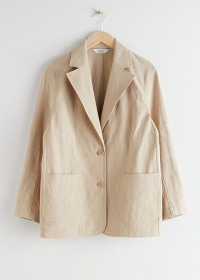 Linen Blend Oversized Blazer in 2020 | Oversized blazer, Blazer .