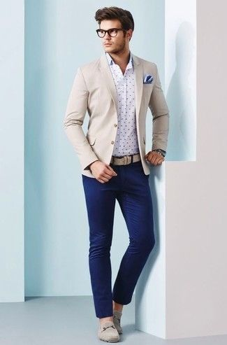 Men's Beige Blazer, White and Navy Polka Dot Long Sleeve Shirt .