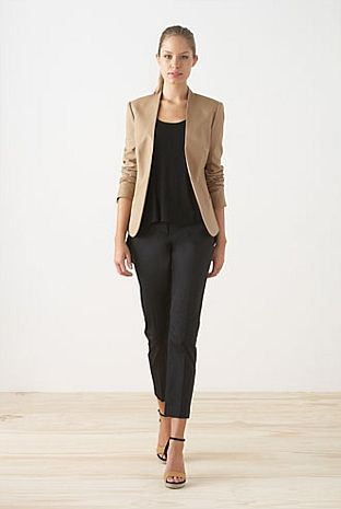 simple outfit: beige blazer with beige sandals, black blouse and .
