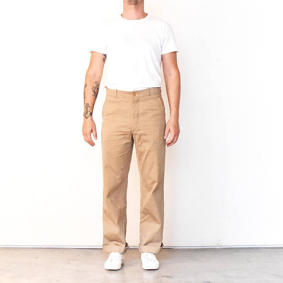 Vintage Greek Military Greece Khaki Tan Beige Trousers Size 34-35 .