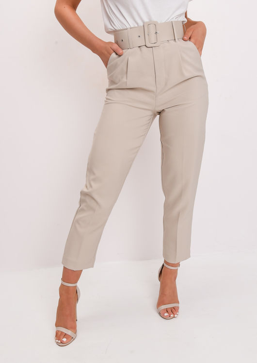 High Waisted Belted Trousers Beige | Lily Lulu Fashi