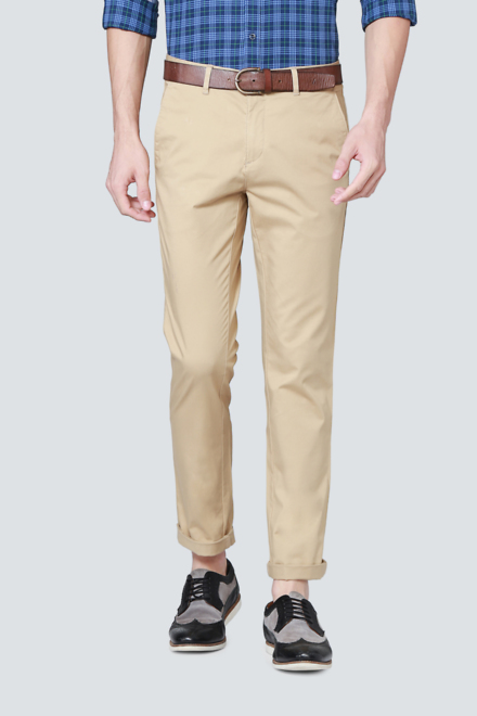 LP Trousers & Chinos, Louis Philippe Beige Trousers for Men at .