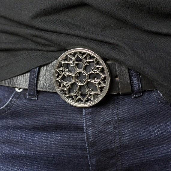 White Brass Gothic Window Belt Buckle - Men's Belts & Buckles .