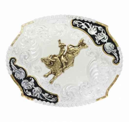 Montana Silversmiths® Antique Leaves Western Belt Buckle With Bull .