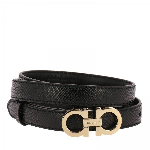 Adjustable Mini Gancini belt in genuine fancy leather | Salvatore .