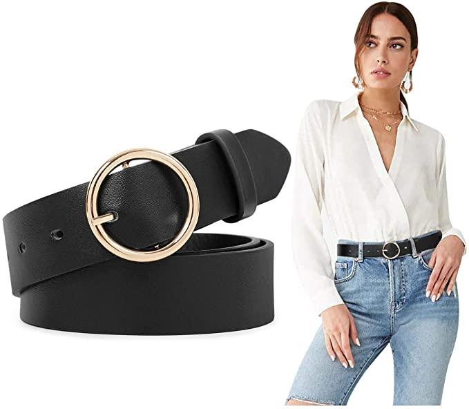 Women Leather Belts SUOSDEY Fashion Soft Faux Leather Jeans Belts .
