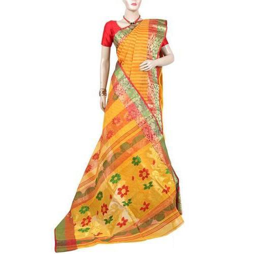 Bengal Cotton Printed Saree with Blouse Piece, Saree Length: 6 m .
