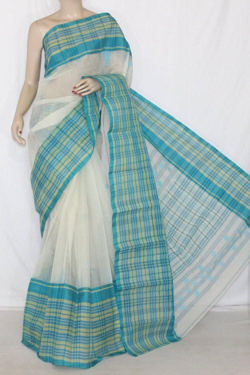 Off White Pherozi Handwoven Bengali Tant Cotton Saree (Without .