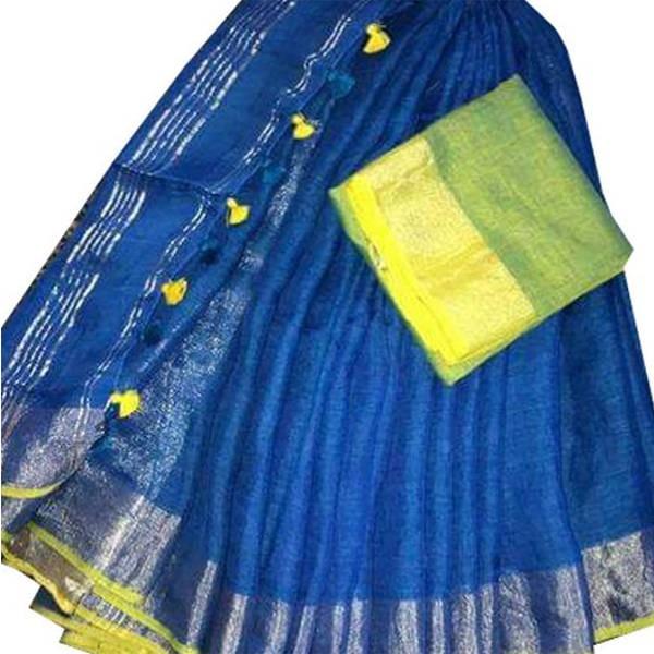 Bhagalpuri Pure Linen Saree-8 (BB-SAPTAMI-BLINEN-00