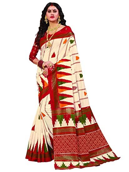 Buy Akhilam Women's Silk Cotton Saree With Blouse Piece .
