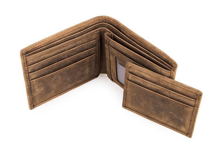New Men Genuine Leather Bifold Wallet Vintage Coin Purse Short .