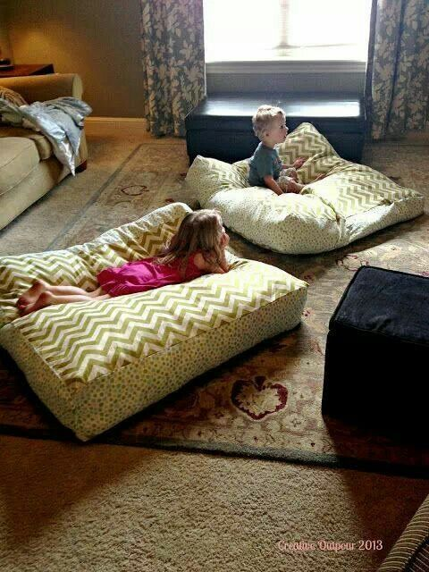 My sibs need big floor pillows like these for their cold basement .