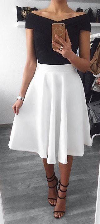 spring #outfits Black Off The Shoulder Top + White Skirt + Black .