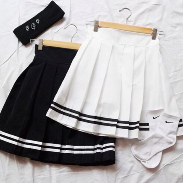 skirt, white skirt, clothes, black skirt, white, black, high .