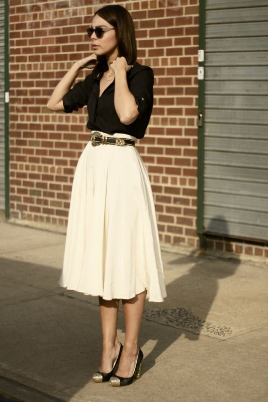 What color top can I wear with a white skirt with black floral .
