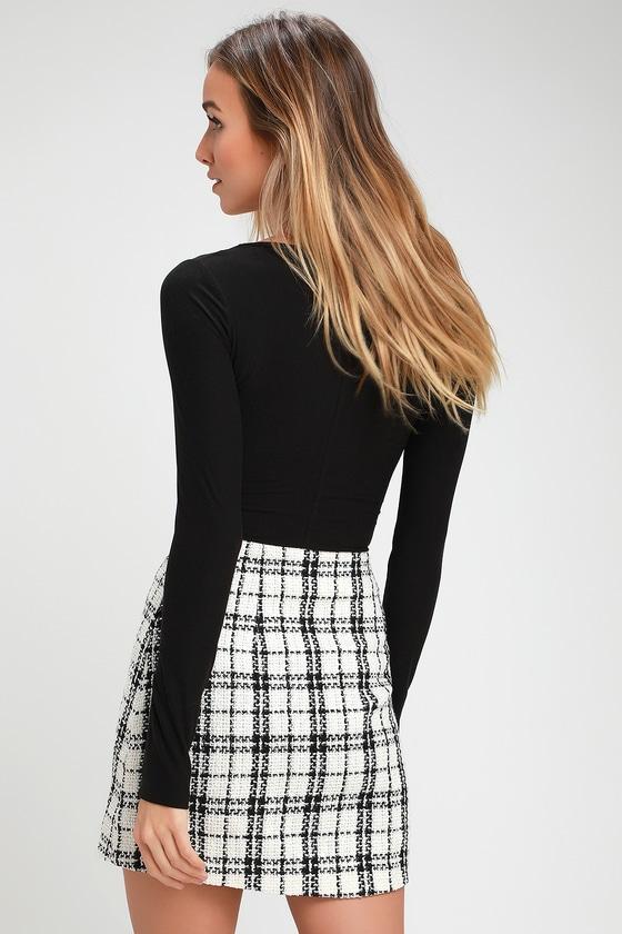 Chic Black and White Plaid Skirt - Tweed Skirt - Plaid Mini Ski