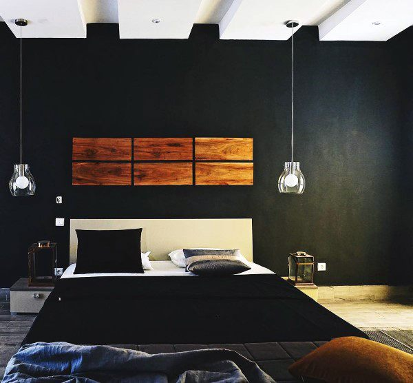 Top 50 Best Black Bedroom Design Ideas - Dark Interior Wal