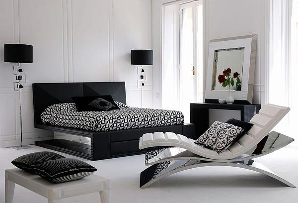15 modern bedroom designs in black and white color palette .