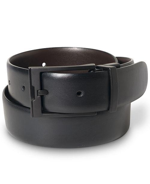 Perry Ellis Portfolio Men's Matte Black Reversible Buckle Leather .