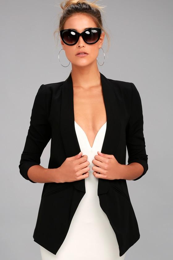 Cute Black Lightweight Blazer - Office Blazer - Tuxedo Blaz