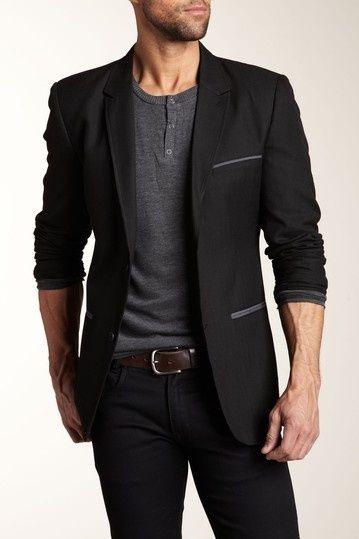 Black blazer w/ charcoal accessories, grey half-button collarless .