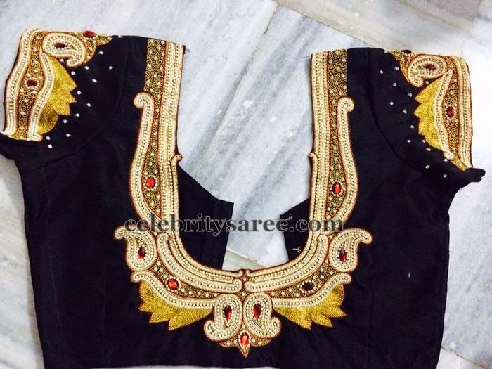 Maggam Work Rich Blouse in Black | Blouse design images, Blouse .