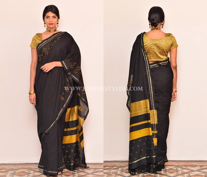 black-saree-with-contrasting-blouse • Keep Me Styli