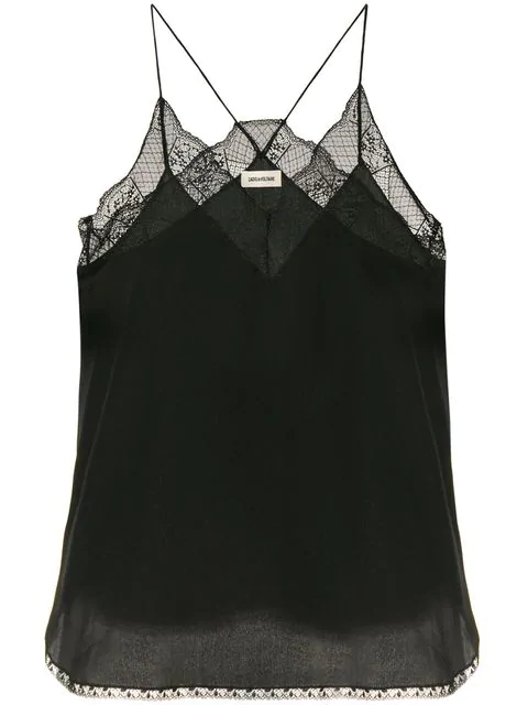 Zadig & Voltaire Christy Silk Camisole Top In Black | ModeSe