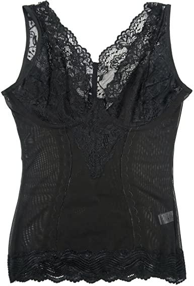 Women Shapewear Lace Camisole Firm Control Tank Tops Black (2XL .