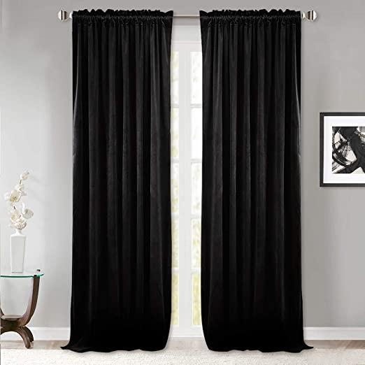 Amazon.com: StangH Black Velvet Thermal Curtains - Living Room .