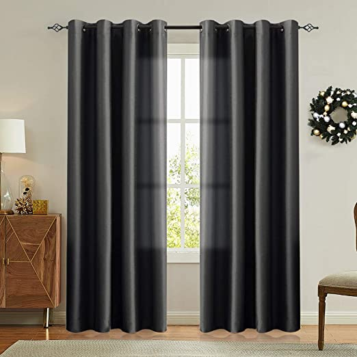 Amazon.com: Vangao Black Curtains 84 inches Long Faux Silk Opaque .
