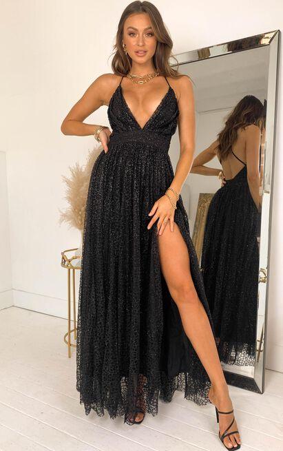 Lady Godiva Dress In Black Glitter | Show