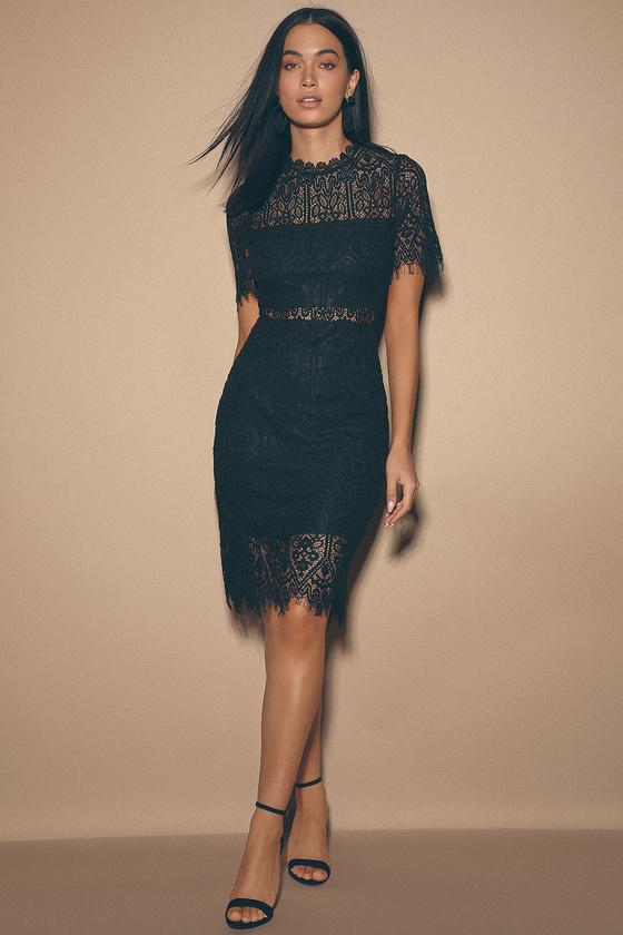 Chic Black Dress - Lace Dress - LBD - Sheath Dre