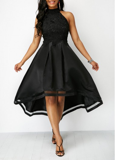 Black Lace Panel Sleeveless High Low Dress (With images) | Black .