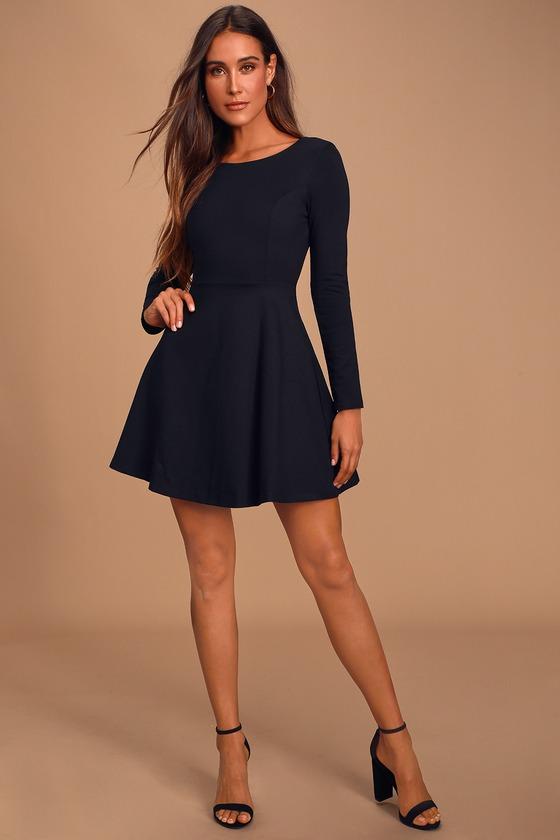 Cute Black Dress - Long Sleeve Dress - Skater Dre
