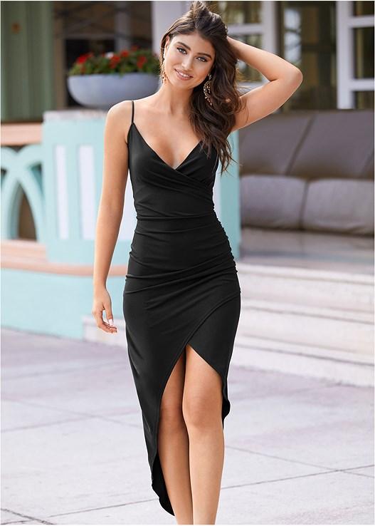 High Slit Party Dress in Black | VEN