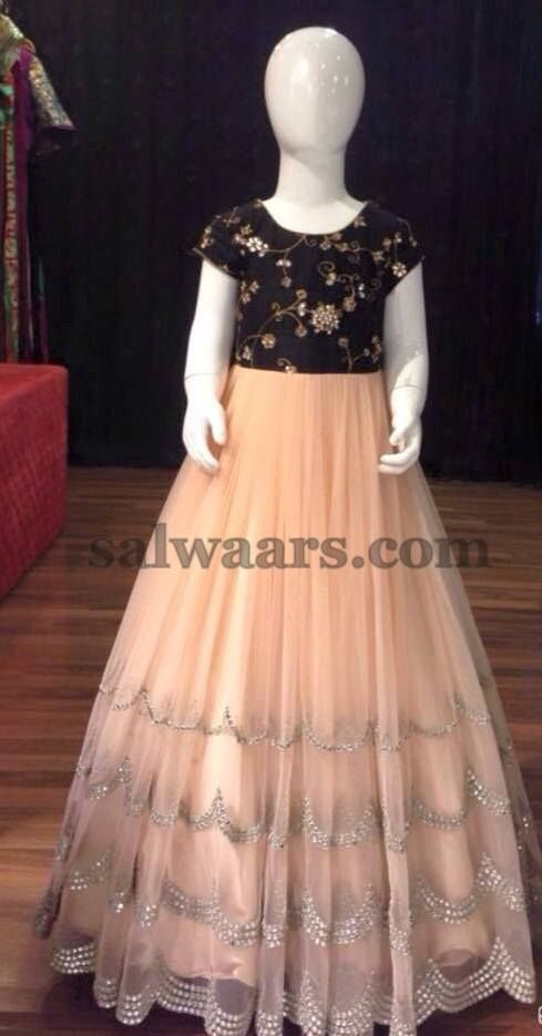 Light Peach and Black frock (With images)   Frocks for gir