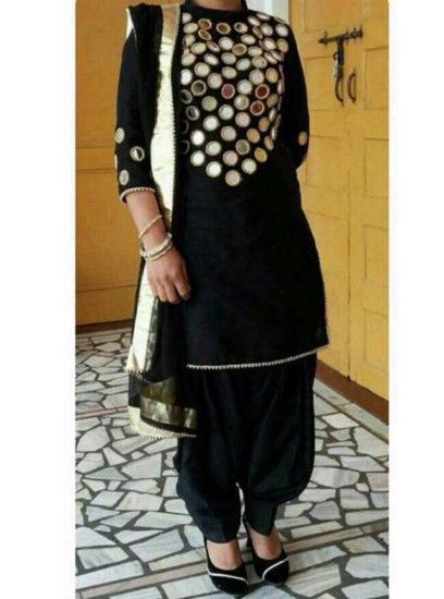 The Punjabi style Mirror Work Designer Patiala Black Colour salwar .