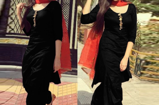 Black Designer Patiala Suit with Red Dupatta. | Patiala suit .