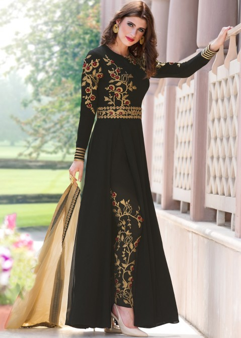 Black Georgette Pant Suit with Dupatta Salwar Kameez 1878SL