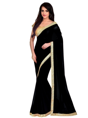 Black plain saree with blouse - Anjaneya Sarees - 26620