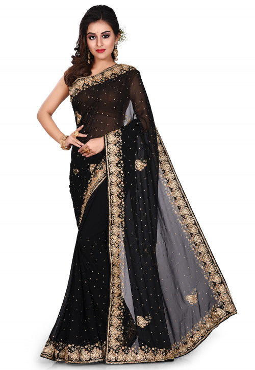 Hand Embroidered Georgette Saree in Black : SEH23